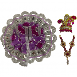 Beautiful Fancy Design Purple & Silver Dress For Laddu Gopal Along With Mukut & Necklace Set, SIZE - 1