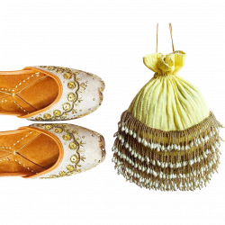 A Combo Of Yellow Chikankari Potli Along With Cream-Beige Jutti