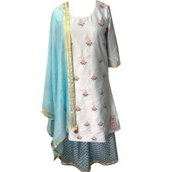 Formal/ Semi Formal Embroidered Cotton Silk Kurti with Palazzo Set With Soft Organza Dupatta