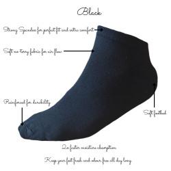 TP Kart, Black Cotton Ankle Socks for Men and Women - Free Size, Solid, Pack of 2 | Size UK 4 - UK 10
