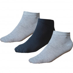 TP Kart, Grey Black Unisex Ankle Length Cotton Socks- Pack of 3 | Size UK 4 - UK 10