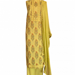 Green Semi-stitched Cotton Block Printed Suit with Chiffon Dupatta