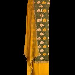 Pickle Green Yellow Semi-stitched Cotton Block Printed Suit with Chiffon Dupatta