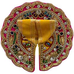 Laddu Gopal Embellished Pink & Yellow Dress With Mukut & Necklace Set, Size - 0