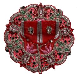Fancy Pink, Red & Green Embellished Laddu Gopal Dress Along With Mukut & Necklace Set, SIZE - 3/4