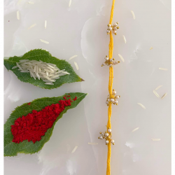 A Fancy Traditional Red/Yellow Rakhi Thread for Bro/Brother/Bhaiya/Bhai