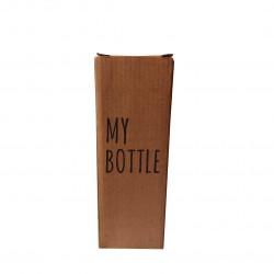 Fancy Transparent Glass Water Bottle (My Bottle), Size - 21 cm x 6.5 cm