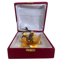"Krishna Laddu Gopal Idol Gift Pack Statue 4""- Resin Brown"