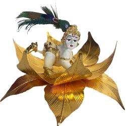 "Krishna Laddu Gopal Idol Gift Pack Statue 4""- Resin White"