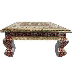 Wooden Handicraft Meenakari Chowki Or Bajot Pooja - 12 inch
