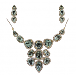 18Kt. Gold Pendant Dangler Earring Set With Aquamarine and Natural Diamonds
