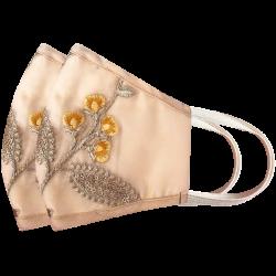 Designer Embroidered Reusable, Breathable & Washable Face Masks, Set of 2