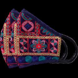 Designer Embroidered Reusable, Breathable Face Masks, Set of 2