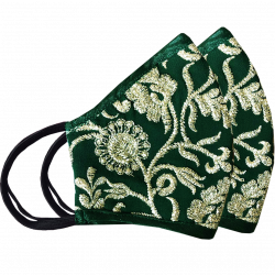 Emerald Green, Designer Embroidered Reusable, Breathable & Washable Face Masks, Set of 2