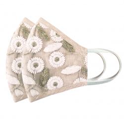 Cotton, Designer Embroidered Reusable, Breathable & Washable Face Masks, Set of 2